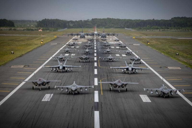 Misawa AB demonstrates combat readiness in first joint, bilateral elephant walk